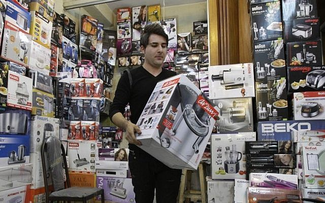 Illustrative photo of a home appliance store in Tehran, Iran, in November 2012. (photo credit: AP Photo/Vahid Salemi)
