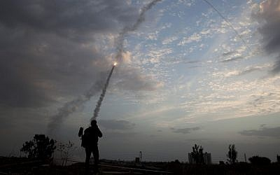 An Iron Dome missile is launched in Tel Aviv, to intercept a rocket fired from Gaza, November 17, 2012 (photo credit: AP/Oded Balilty)