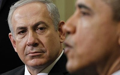 Prime Minister Benjamin Netanyahu listening as President Barack Obama speaks during a meeting in Washington in March 2012. (AP/Pablo Martinez Monsivais)