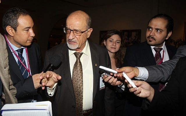 Syrian regime opponent Haytham al-Maleh, center, speaks to reporters on the sidelines of the General Assembly of the Syrian National Council meeting in Doha, Qatar,Thursday, Nov. 8, 2012. (photo credit: Osama Faisal/AP)