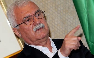 George Sabra, head of the main Syrian opposition bloc in exile, the Syrian National Council, on November 10, 2012 (photo credit: AP/Osama Faisal)
