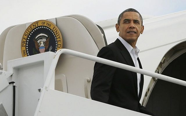 US President Barack Obama boards Air Force One at Andrews Air Force Base in Maryland last month (photo credit: AP/Pablo Martinez Monsivais)