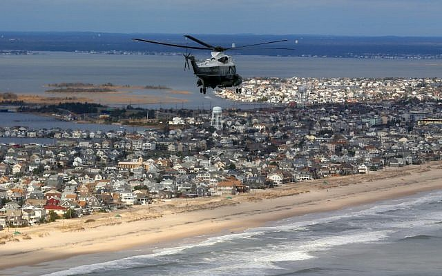 Aerial view of the Jersey Shore. (photo credit: AP/Doug Mills, Pool)