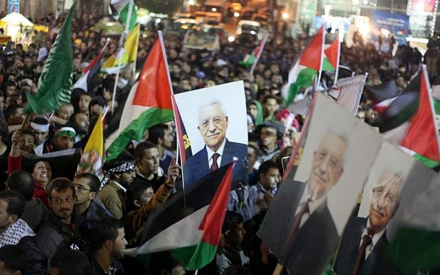 Palestinians celebrating in the West Bank city of Ramallah after the UN General Assembly voted to recognize Palestine as a non-member observer state on Thursday (photo credit: Issam Rimawi/Flash90)