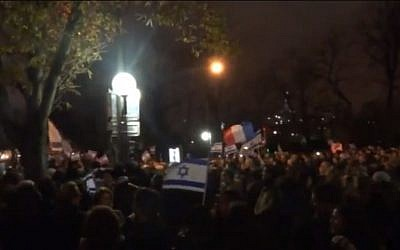 Parisians rally in support of Israel, on November 20, 2012 (photo credit: Youtube screen capture/ AssyrianPride1000)