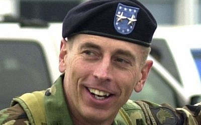 File photo of then-Maj. Gen. David Petraeus at Fort Campbell, Kentucky in May, 2004 (photo credit: AP/Christopher Berkey)