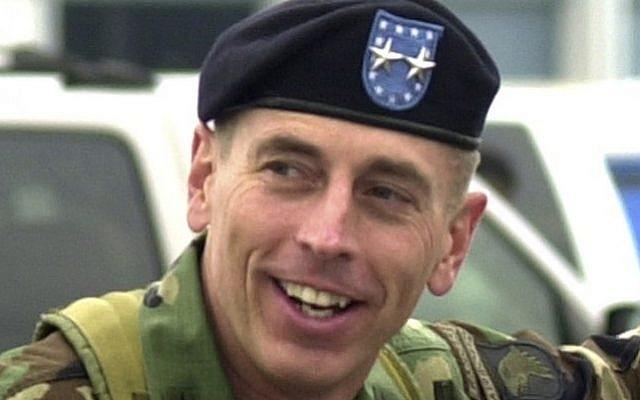 File photo of then-Maj. Gen. David Petraeus at Fort Campbell, Kentucky in May, 2004 (photo credit: AP/Christopher Berkey)