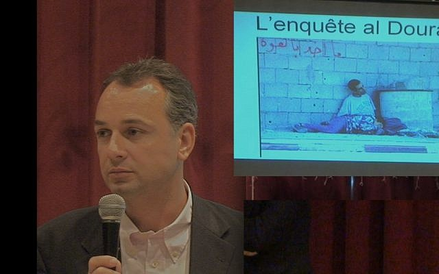 Philipe Karsenty delivers a lecture on the al-Dura affair in France in 2011. (Photo credit: Courtesy of Philippe Karsenty via JTA)