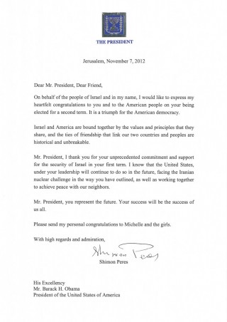 President Peres's congratulatory letter to President Obama (photo credit: courtesy Prsident's residence)