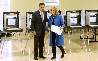 Republican presidential candidate, former Massachusetts Gov. Mitt Romney and wife Ann Romney vote in Belmont, Massachusetts on November 6. (photo credit: AP/Charles Dharapak)