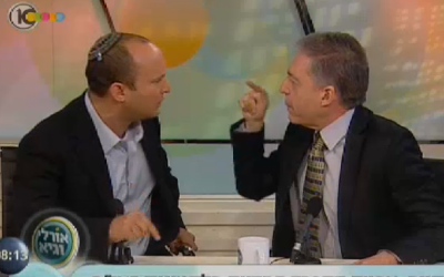 Naftali Bennett (left) and Yossi Beilin in a heated argument, Thursday (photo credit: screen capture/Channel 10/news.nana10.co.il)