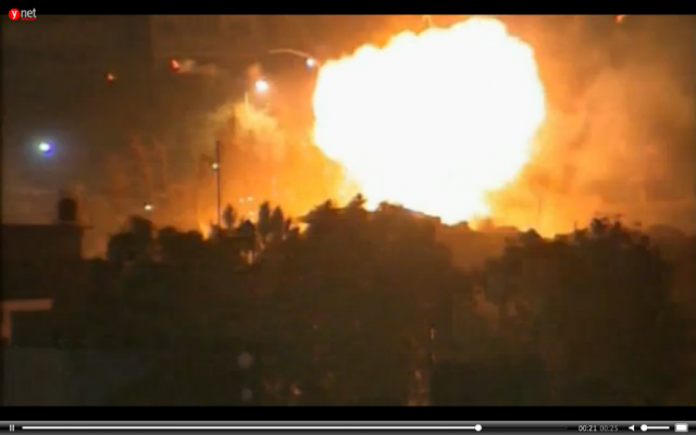 Hamas cabinet headquarters in Gaza City hit by an IAF airstrike in November 2012 (screen capture: Reuters video)
