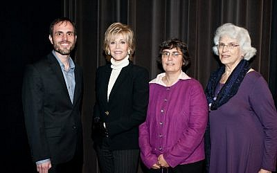 Jane Fonda (second from left) appears with scholars Dan Leshem, Jessica Neuwirth (second from right) and Rochelle G. Saidel at a Los Angeles symposium on sexual violence during the Holocaust. (Photo credit: Courtesy of Kim Fox)
