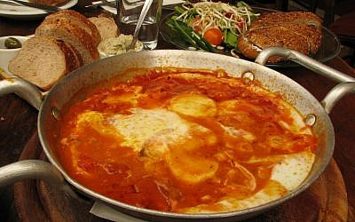 Shakshuka in a mahbat, another one-dish meal made in a frying pan (photo credit: Gilabrand/CCA-SA 3.0)