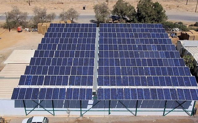A view of a portion of  Israel's largest solar field, the 4.95MW Ketura Sun project at Kibbutz Ketura in the Negev (Photo credit: Courtesy Suntech)