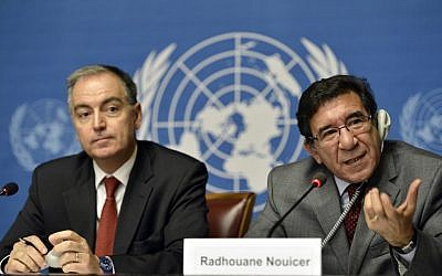 Radhouane Nouicer, the UN's regional humanitarian coordinator for Syria, right, speaks during a joint news conference with Panos Moumtzis, the UN refugee agency's coordinator for the region, left, at the headquarters of the United Nations in Geneva, Switzerland, Friday.