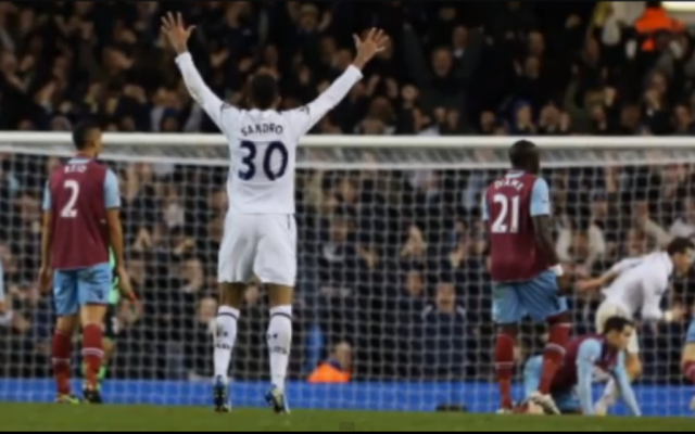 Tottenham's Sandro Raniere Guimarães Cordeiro, better known as Sandro. West Ham fans allegedly chanted anti-Semitic epithets at Tottenham, known to have a large Jewish fan base, during a match last year. (photo credit: screen capture, YouTube)