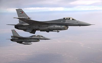 Illustrative photo of two F-16 Royal Jordanian Air Force jets (photo credit: CC BY-SA 3.0, by Caycee Cook, US Air Force, Wikimedia Commons)