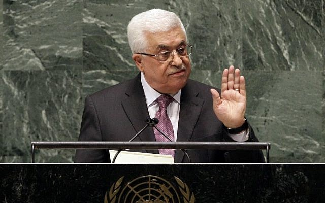 "Palestinian Authority President Mahmoud Abbas appeals to all nations to vote in favor of the Palestinians ""as an investment in peace,"" in a statement before the United Nations General Assembly, Thursday, Nov. 29 (photo credit: Richard Drew/AP)"