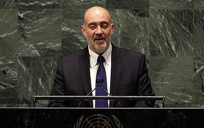 Israel's UN Ambassador Ron Prosor addresses the United Nations General Assembly, Thursday, Nov. 29, 2012. (photo credit: AP/Richard Drew)