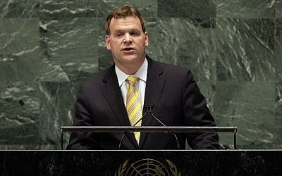 Canada's Foreign Minister John Baird addresses the United Nations General Assembly, Thursday, Nov. 29 (photo credit: AP/Richard Drew)