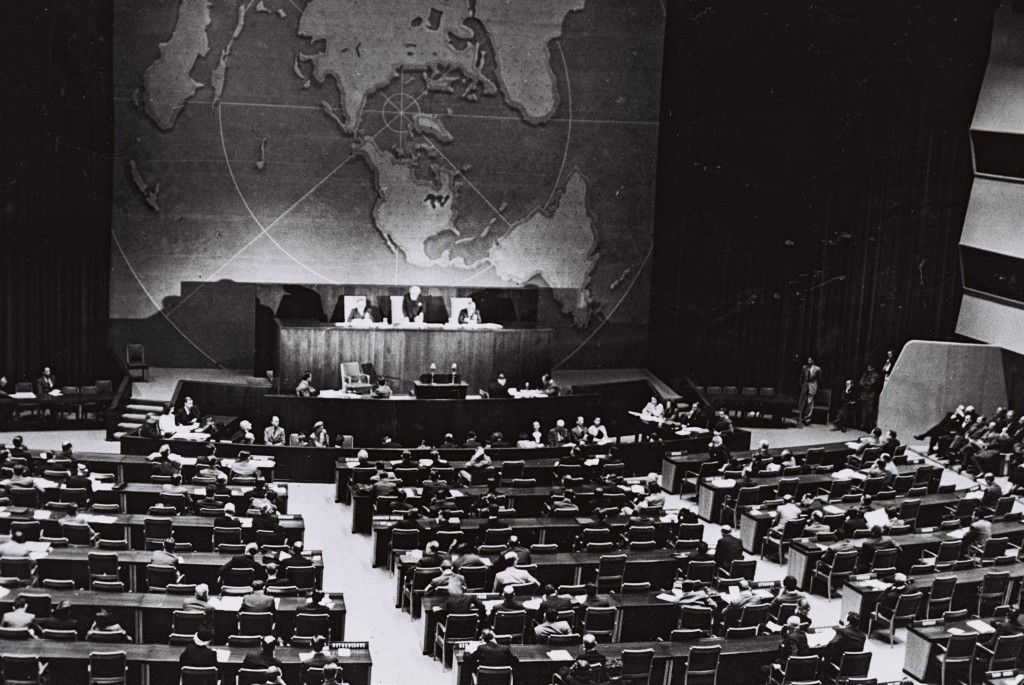 The UN votes on partition, November 29, 1947 (Courtesy of the Government Press Office, Jerusalem)