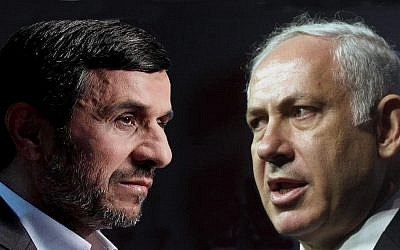"Channel 4's ""Dispatches"" program shows how top Israeli thinkers imagine Iranian President Mahmoud Ahmadinejad (left) and Israeli Prime Minister Benjamin Netanyahu might act during a military confrontation. (Photo credit: Courtesy of Channel 4)"
