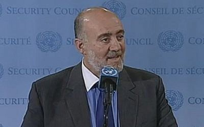 Ron Prosor addressing the Security Council in November (photo credit: screen grab http://webtv.un.org)