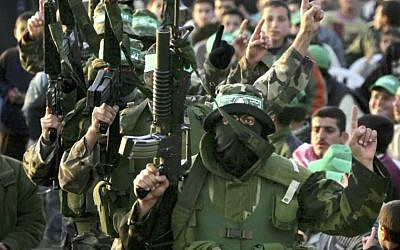 Hamas gunmen on parade. (photo credit: YouTube screen capture)