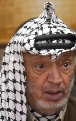 Portrait of Yasser Arafat, September, 2003. In 1988 Arafat declared an independent State of Palestine. (photo credit: Flash90)
