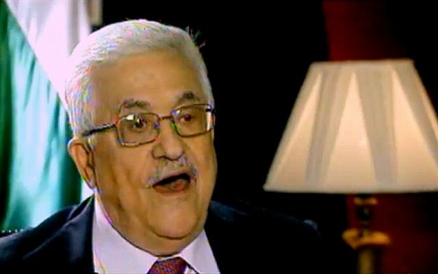 Palestinian Authority President Mahmoud Abbas speaks to Channel 2 News (photo credit: Channel 2 screen capture)