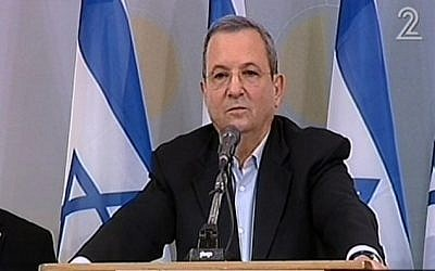 Ehud Barak speaking to the press Monday. (Screenshot/ Channel 2)
