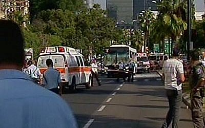 The scene of the bus bombing in Tel Aviv, Wednesday (photo credit: Channel 2 screen capture)