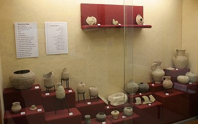 Antiquities on display in Dorot, the first kibbutz to be founded in the Negev (photo: courtesy Shmuel Bar-Am)