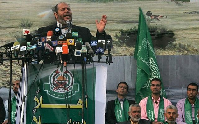 Hamas official Khalil al-Heah speaks during a rally as the terror group's supporters celebrate the release of hundreds of prisoners following a swap for captured IDF soldier Gilad Shalit, in the southern Gaza town of Khan Yunis on October 21, 2011. (photo credit: Abed Rahim Khatib/Flash90)