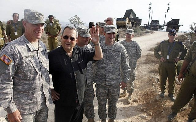 Former defense minister Ehud Barak, center, speaks to US soldiers during a joint Israeli-hosted military exercise, October 23, 2012 (photo credit: Lior Mizrahi/Flash90/File)