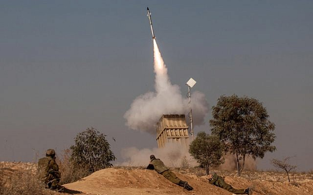 A volley of rockets fired from the Gaza Strip was intercepted by the Iron Dome missile defense system near the city of Beersheba, November 15 (photo credit: Uri Lenzl/Flash90)