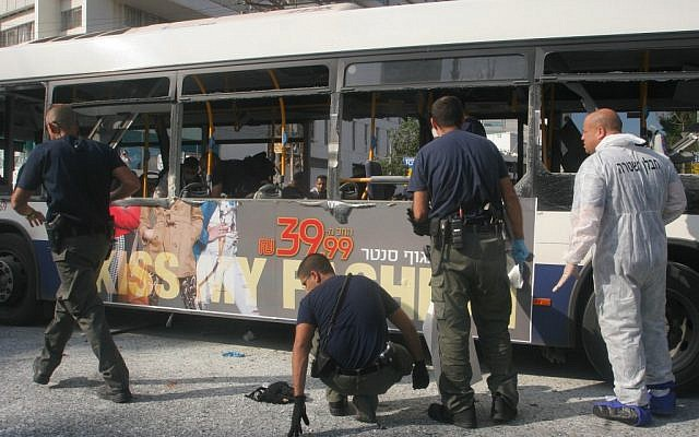 The scene of the bombing attack on the bus in Tel Aviv in 2012. (photo credit: Roni Schutzer/Flash90)