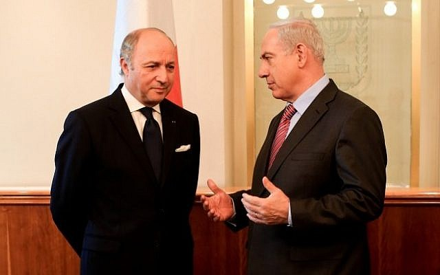 French Foreign Minister Laurent Fabius with PM Netanyahu in Jerusalem, Sunday, November 18, 2012. (photo credit: Valentine Bourrat/French embassy Tel Aviv)
