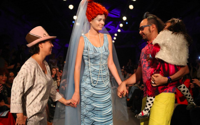 At the end of the Frau Blau show, with Helena Blaunstein, a mermaid model, Philip Blau and their daughter (Courtesy Tel Aviv Fashion Show)