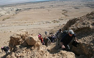 Hiking along the Qumran trail (photo: courtesy Shmuel Bar-Am)