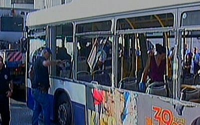 The bus that was targeted in a terror attack in Tel Aviv on Wednesday (photo credit: Channel 2 screen capture)