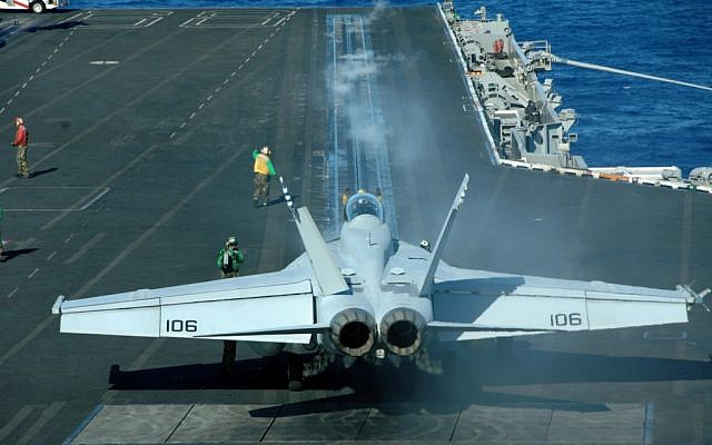 A plane taking off from the USS Nimitz in 2008. (photo credit: Steven Maksinchuk/US Navy, Department of Defense)