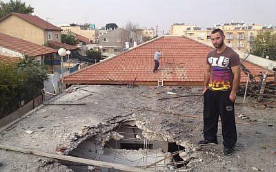 Ehud Ben-David, 23, in Ofakim on Thursday (Times of Israel/Matti Friedman)