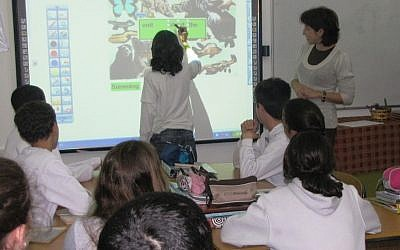 A smart classroom at a school in southern Israel (Photo credit: Courtesy)