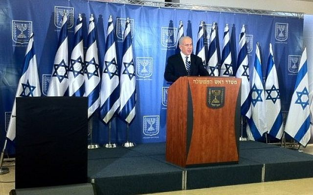 Prime Minister Benjamin Netanyahu speaks to reporters on Thursday. (photo credit: Yoel Goldman/Times of Israel Staff)