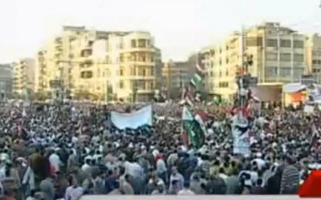 The scene in Tahrir Square, Cairo, on November 24, 2012 (photo credit: YouTube screen capture)