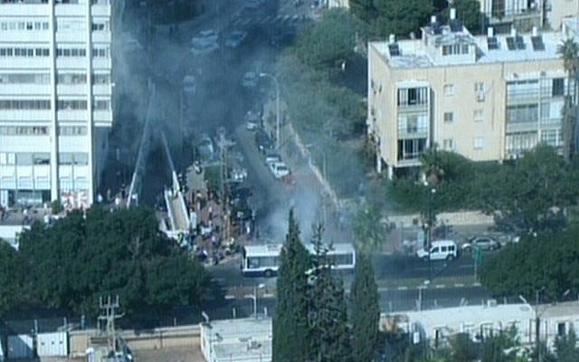 The of the bus bombing in Tel Aviv, on Wednesday, November 21 2012 (photo credit: screen capture/Channel 10)