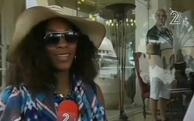 Serena Williams vacationing in Eilat on November 6. (photo credit: Image capture from Channel 2)