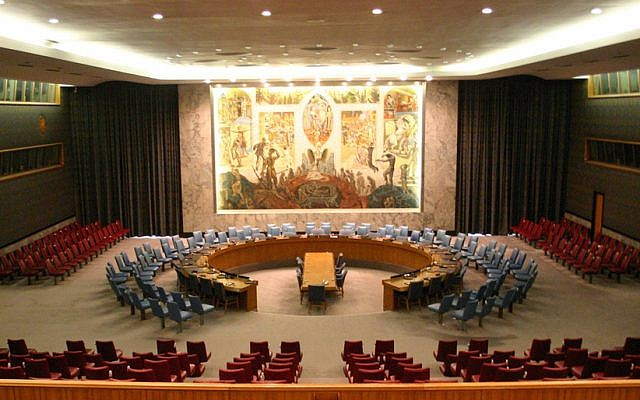 The chamber of the UN Security Council in New York City (photo credit: CC BY-SA Gruban/Flickr/File)
